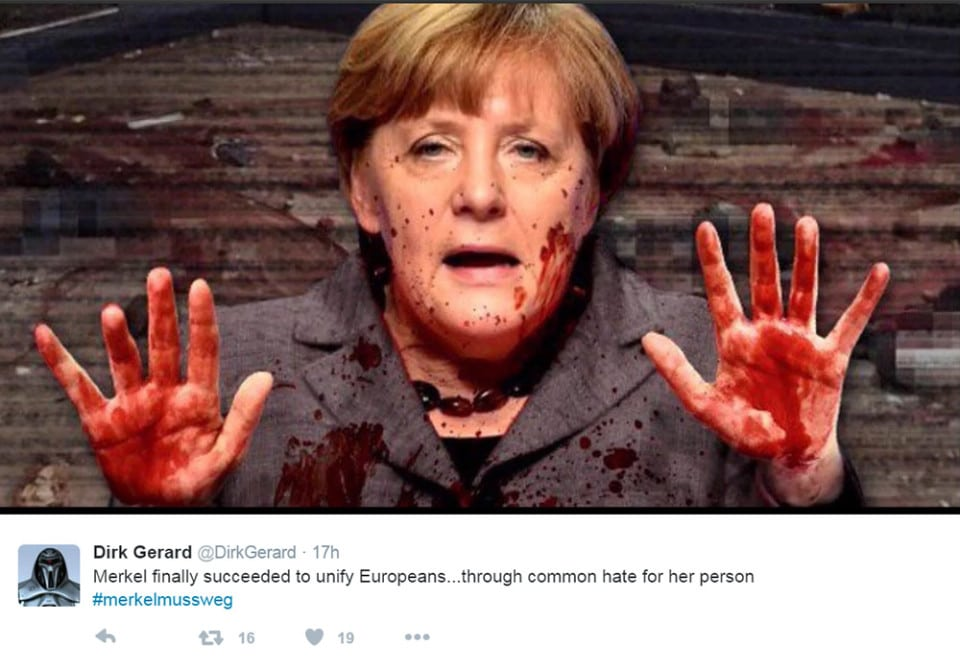Merkel must go - protests Twitter