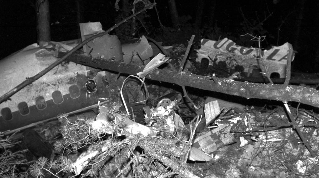 The wreckage from the plane that Vesna Vulovic was travelling on