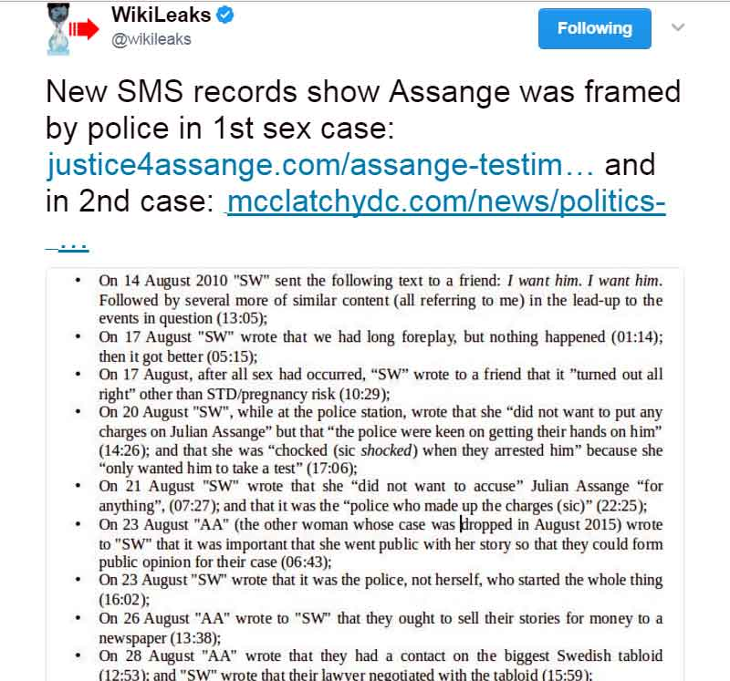 New SMS records show Assange was framed by police in 1st sex case: https://justice4assange.com/assange-testimony … and in 2nd case: http://www.mcclatchydc.com/news/politics