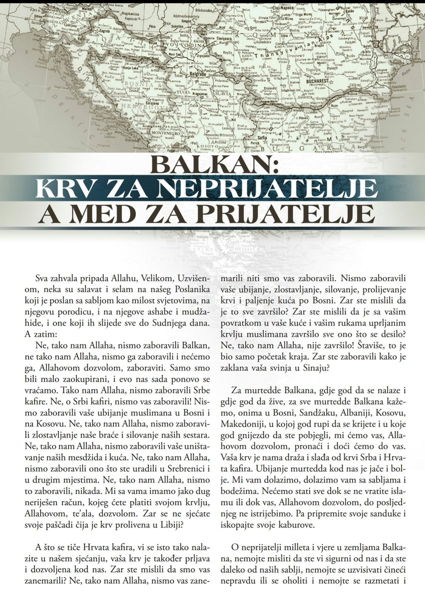 ISIS Rumiyah Magazin Balkan edition saying that they didn't forget the Balkans but they were just preocupied.
