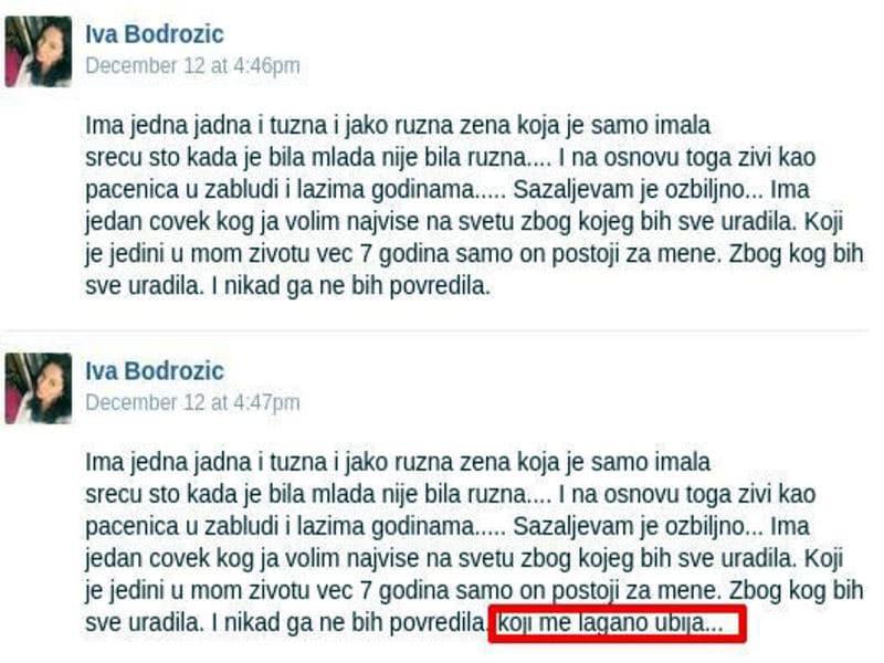 Jedan od statussa Ivane Bodrožić na Facebook društvenoj mreži gde se spominje Željko Mitrović vlasnik PINK Televizije, medijski magnat i miljenik svih režima