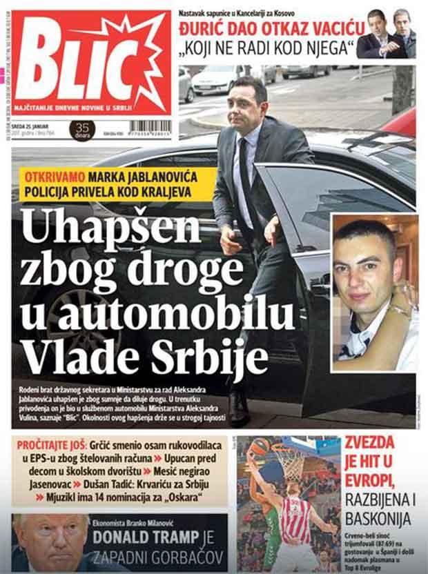 Vlada Srbije službenim kolima vlade švercuje drogu, opojna i narkotička sredstva.