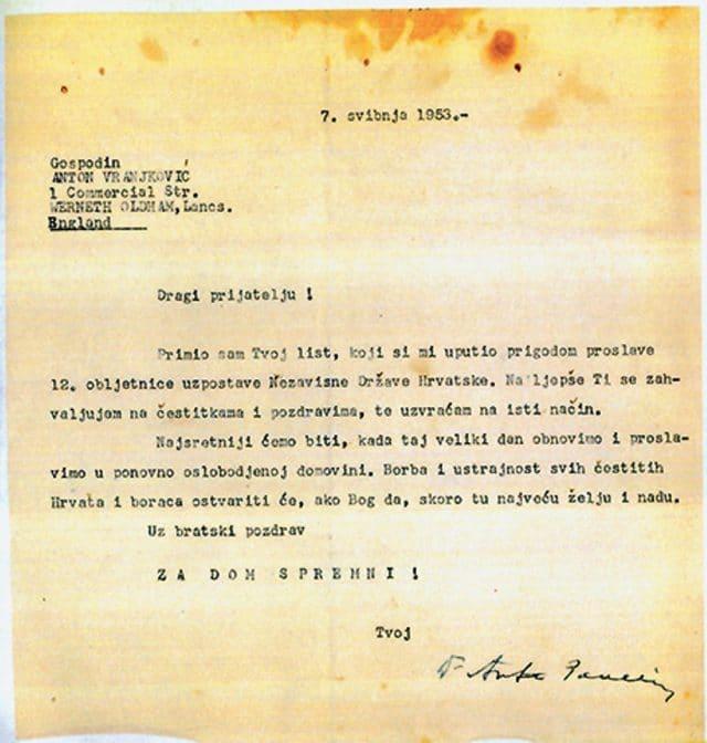 2. Privatno pismo Ante Pavelića (2.), s pozdravom 'Za dom spremni', poslano iz emigracije 1953. godine
