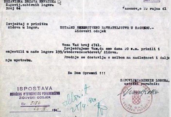 4. A obzirom da je 'Za dom spremni' korišten u svim službenim dopisima NDH, korišten je i u ovoj potvrdi iz logora Jasenovac o primanju i smještanju 199 Židova.