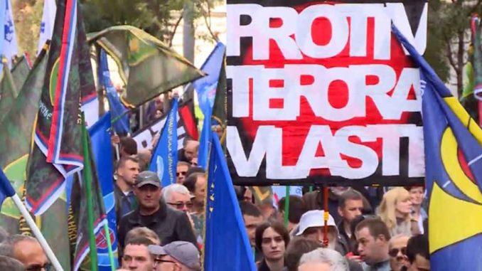 Protest Vojnog i Policijskog sindikata Vratite nam državu