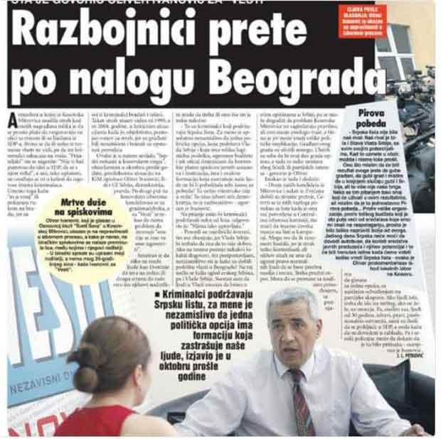 Oliver Ivanović: Razbojnici prete po nalogu iz Beograda?
