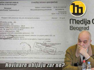 NEČUVENO! Životno ugrožen novinar Milan Malenović danas ponovo protivpravno lišen slobode!