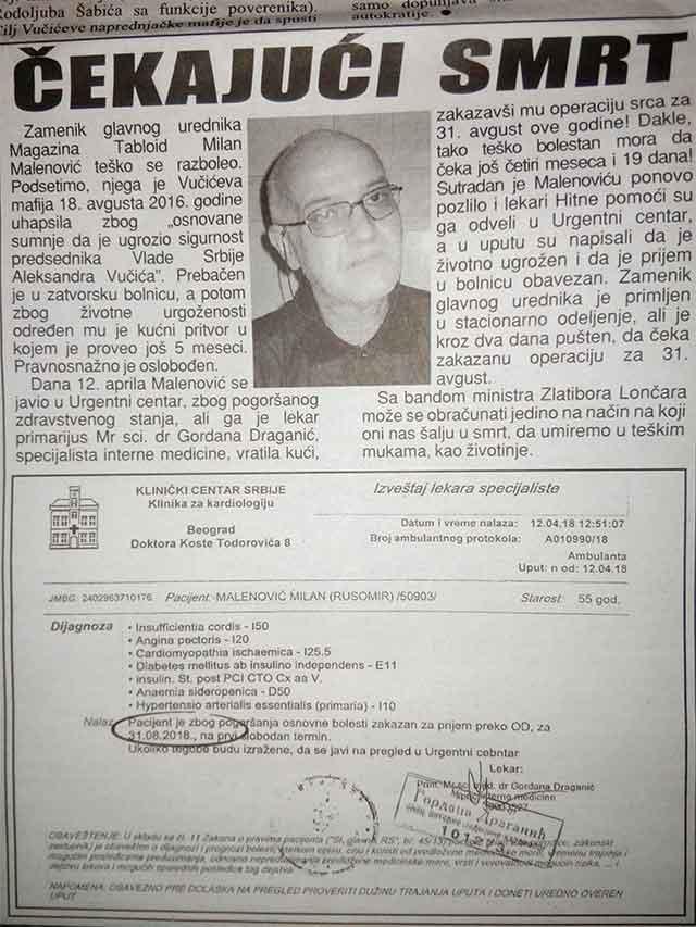 Zamenik glavnog i odgovornog urednika Magazina Tabloid osuđen na smrt od strane ministra zdravlja Zlatibora Lončara?