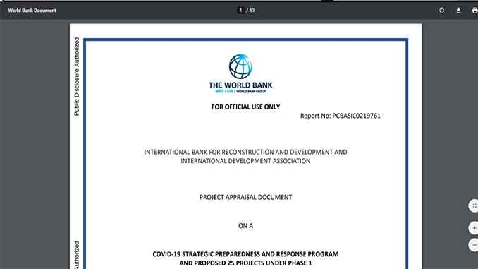 World Bank - COVID-19 STRATEGIC PREPAREDNESS AND RESPONSE PROGRAM AND PROPOSED 25 PROJECTS UNDER PHASE 1 - PDF